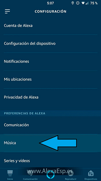 Cómo configurar y utilizar Spotify, Deezer o Apple Music en Alexa (Amazon Echo) paso 3