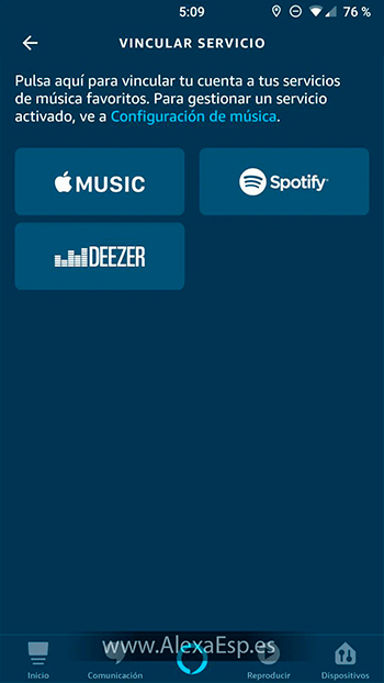 Cómo configurar y utilizar Spotify, Deezer o Apple Music en Alexa (Amazon Echo) paso 5
