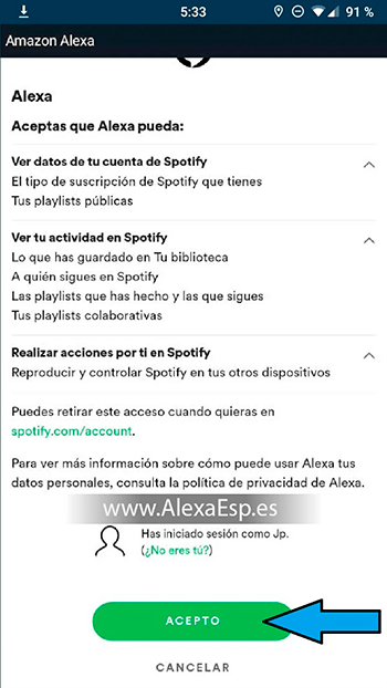 Cómo configurar y utilizar Spotify, Deezer o Apple Music en Alexa (Amazon Echo) paso 7
